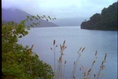 Bariloche, Argentina, misty lake, wide shot,  Lake Nahuel Huapí Stock Footage