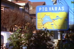 Chile Puerto Varas, sign entering town Stock Footage