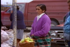 Chile Puerto Varas, Andean woman with classic features stands rigidly still Stock Footage