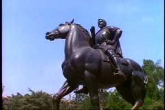 Santiago, Chile, Statue of Pedro Valdivia on horse, low, upshot, no people Stock Footage