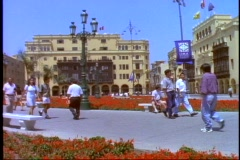 Lima, Peru, Plaza del Armas, Cathedral Square, medium shot, tilt up crowd Stock Footage