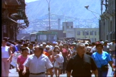 Lima, Peru, crowd, crushed, bus in back, Lima streets Stock Footage