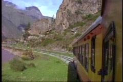 Peru, train ride through Andes on narrow gauge, tracks at a curve Stock Footage