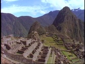 Stock Video Footage of Machu Picchu, Peru, The Andes, wide shot, classic view, pan right