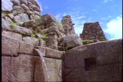 Machu Picchu, Peru, The Andes, close up of water troughs Stock Footage