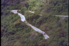Machu Picchu, Peru, The Andes, bus climbing hill, ten switchbacks Stock Footage