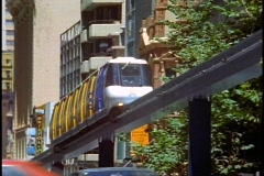 Sydney Monorail, close up, follow past, zoom back Stock Footage