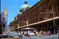 Sydney street scene, wide shot, people, Victorian arcade building Stock Footage
