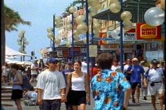 Sydney, Manly Beach resort, crowd, in village medium shot Stock Footage
