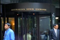 Sydney, Australian Stock Exchange, revolving door, sign above Stock Footage
