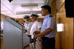 The Queen Elizabeth 2, QE2, The Bridge, Captain and helmsman on wheel Stock Footage