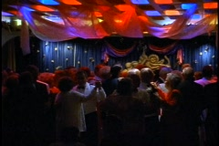 The Queen Elizabeth 2, QE2, dancing in the Queen's Room Ballroom at night - stock footage