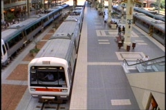 Perth Railroad Station, commuter trains leaving, medium shot - stock footage