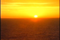 Queen Elizabeth 2, sunset at sea, medium shot Stock Footage