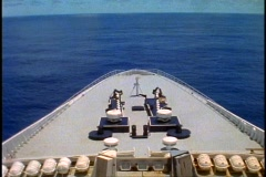 Queen Elizabeth 2, bow shot of QE2, POV with sea ahead wide shot - stock footage