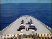 Queen Elizabeth 2, bow shot of QE2, POV with sea ahead wide shot Stock Footage
