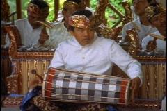 Bali Musicians, medium close-up drummer Stock Footage