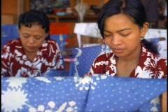 Bali, Batik making, women, medium shot Stock Footage