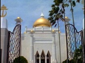 Stock Video Footage of Brunei Mosque of Gold, Omar Ali Saifuddien Mosque, medium shot tilt up dome