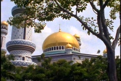 Brunei, Jame' Asr Hassanil Bolkiah Mosque, medium shot, close-up dome - stock footage