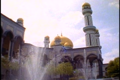 Brunei, Jame' Asr Hassanil Bolkiah Mosque,  fountains, corner courtyard - stock footage