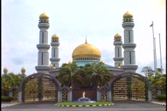 Brunei, Jame' Asr Hassanil Bolkiah Mosque, wide shot square on with gates - stock footage