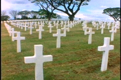 Manila, American Cemetery, rows of white crosses, wide shot, pan right Stock Footage