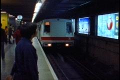 Hong Kong Subway, train coming into station, wide shot Stock Footage