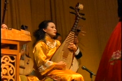 China, Xian, Chinese Cultural Show, instrumentalist medium close-up Stock Footage