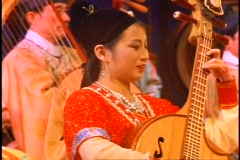 China, Xian, Chinese Cultural Show, instrumentalist, medium close-up Stock Footage