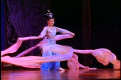 China, Xian, Chinese Cultural Show, ribbon dancers, medium shot Stock Footage