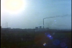 China, Xian, Chinese Nuclear Power Plant, smoke stake, pollution, POV Stock Footage