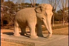 China, Ming Tomb Statues, medium shot, elephant Stock Footage
