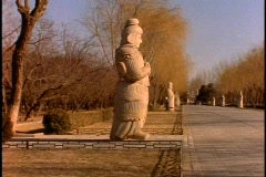 China, Ming Tomb Statues, wide shot Chinese goddess Stock Footage