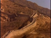 The Great Wall of China, medium wide shot up hill, detail, no people Stock Footage