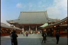 Tokyo, The Asakusa Shinto Shrine, very wide shot Stock Footage