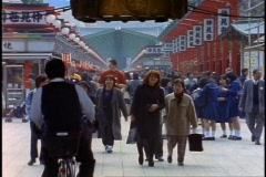 Tokyo, The Asakusa District, arcade, crowds, very wide shot Stock Footage
