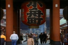 Tokyo, The Asakusa District, giant red lantern, crowd, medium shot Stock Footage