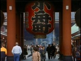Tokyo, The Asakusa District, giant red lantern, crowd, medium shot Stock Footage