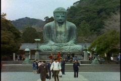 The Kamakura Buddha, wide shot, straight on Stock Footage