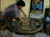 Ho Chi Minh City, lacquer ware making, polish finished piece Stock Footage