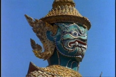 Royal Palace of Bangkok, medium shot dragon monkey god statue - stock footage