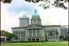 Singapore Court building with dome, wide shot Stock Footage