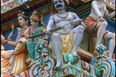 Hindu Temple, colorful gods and goddesses, close up, tilt up - stock footage