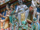 Stock Video Footage of Hindu Temple, colorful gods and goddesses, close up, tilt up