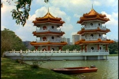 Singapore Chinese Garden Pagoda's, wide shot, pan right Stock Footage