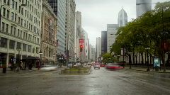 WS T/L Traffic on Michigan Avenue/ Chicago, Illinois, USA Stock Footage