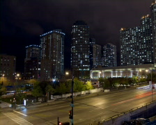 WS T/L Traffic on city road at night/ Chicago, Illinois, USA Stock Footage