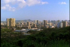The Honolulu Skyline from  the Punchbowl, WS, classic view Stock Footage