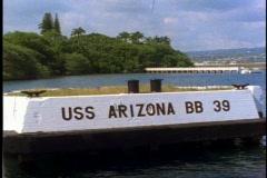 "The USS Arizona Memorial at Pearl Harbor, close up ""USS Arizona"" Stock Footage"